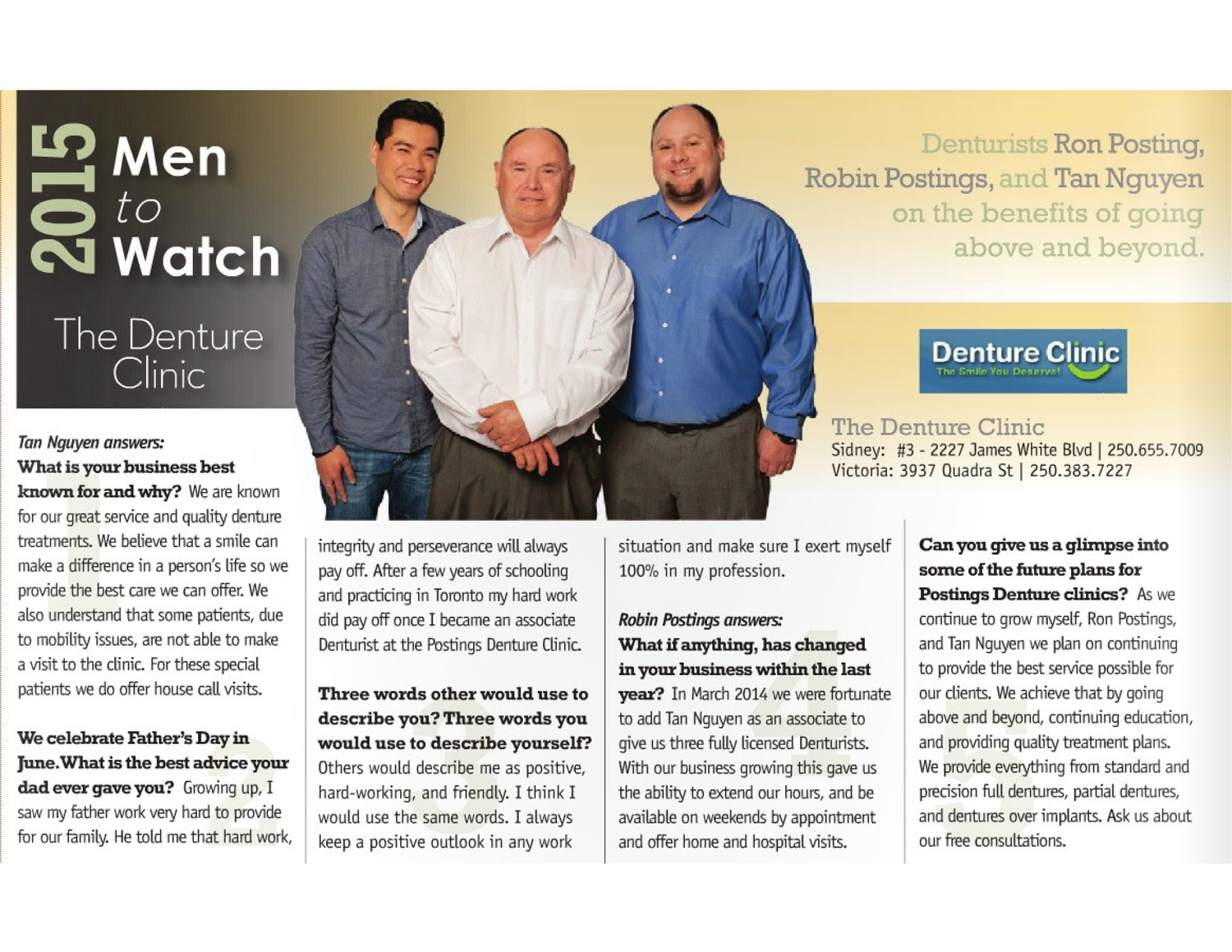 2015 Men to Watch: Postings Denture Clinics